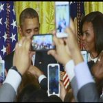 Pres and Mrs Obama hidden by forest of smartphones at Black History Month reception in the East Room. http://t.co/qGk1yX4I4e