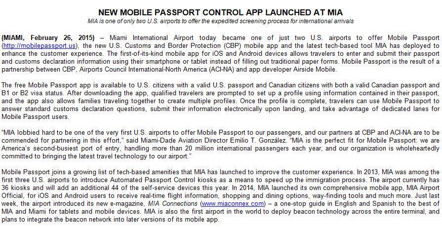 RT @RebecaSosaMiami: .@iflymia launches new mobile passport control app /download link