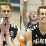Dalhousies Connor Maessen celebrates during the CIS mens volleyball tournament. Dalhousie beat York 3-2 #CISmvb15 http://t.co/MFgvJJFz0w