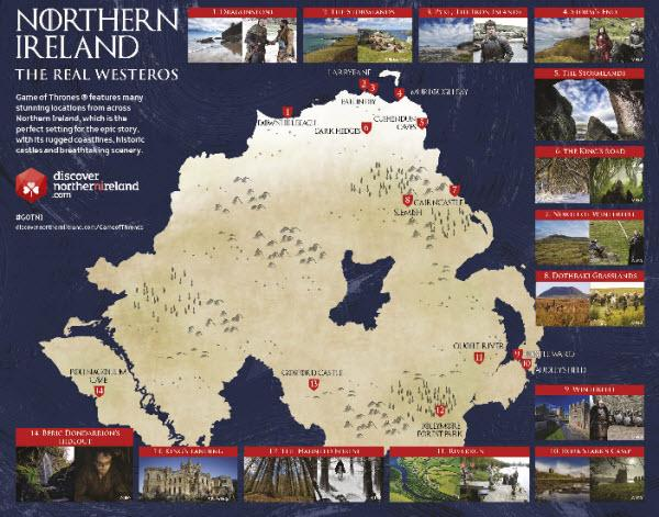 Northern Ireland has created a 'Game of Thrones' tourism map.