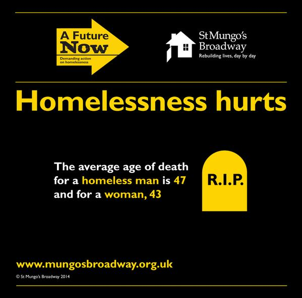 The average age of death for a homeless woman is 43. Pls join our campaign & help #stopthehurt http://t.co/PYWUWgVtSJ http://t.co/GnSj6PbPpa