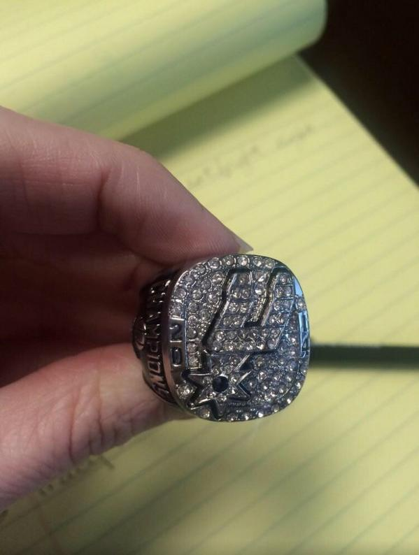 Behold! The 2014 San Antonio Spurs NBA championship ring! I got my hands on one. Don't ask. - Taylor http://t.co/Jfqc3ho5Ii