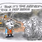 RT @StanSteam2: I think its time everybody took a deep breath Ron Tandberg cartoon via @theage #auspol #coal #RET #insiders http://t.co/V3pqqRRQpM