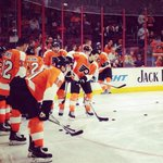 RT @NHLFlyers: Warmups are underway at the @WellsFargoCtr! Consider this your half hour warning to puck drop. #DETvsPHI http://t.co/b3AJ0LFE5N