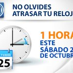 Recuerda que comienza el #HorariodeInvierno, no olvides atrasar tu reloj una hora este sábado antes de dormir. http://t.co/f5N2Kw0JoZ
