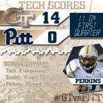 RT @GTAthletics: Lets recap @GeorgiaTechFBs first two scoring drives; 6 plays = #Jackets 14-0 lead #GTvsPITT http://t.co/T6N4Nl1M0b