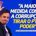 """Frase do dia: """"""""A medida mais efetiva para combater a corrupção é tirar o PT do poder"""" #AgoraEAecio45Confirma http://t.co/r5MJvduuX8"""
