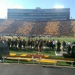 """Beautiful. ???? """"@SG_Mizzou15: Tiger-striped crowd at Faurot Field. Its all about the black and gold! #MIZ #Homecoming http://t.co/Ekjvi6rMGj"""""""