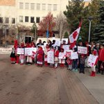 Members of #yxe Ahmadiyy muslim community gather outside city hall to show solidarity with canada http://t.co/8Vps4iI7GJ