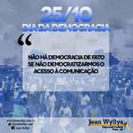 RT @jeanwyllys_real: Não há democracia se não democratizarmos o acesso à comunicação: http://t.co/k34tMgvRIe #DiaDaDemocracia (ASCOM) http://t.co/IpJk727JCF