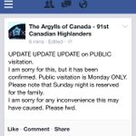 RT @siomo: ATTN-According to @TheArgylls, tomorrows visitation for Cpl Cirillo is for family only. Publics turn on Monday http://t.co/9bsKyBpVZk