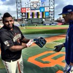 """RT @SFGiants: Pablo shows off Salvador Perezs Glove. """"Im a big fan of Panda, thats why I have wear his number"""" #SFGiants http://t.co/78G16cfdsg"""