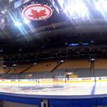 One hour until game time! The view from #NHLBruins bench tonight. http://t.co/hPlRSQFd1u