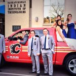 Suited up for tonights game! Hometown Hockey continues from Saskatoon. Congrats to Flames fans Andrew & Richelle! http://t.co/sFmb3K5X5y