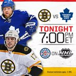 Its time for @NHLBruins vs @MapleLeafs. Tune in. http://t.co/LeytVJrgZS