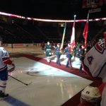 Honour Guard on the ice for tribute to Cpl. Nathan Cirillo and WO Patrice Vincent pre-game. http://t.co/ZLdATQ5rZ5