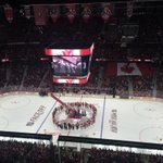 RT @Sportsnet: An unprecedented circular formation during the national anthem at centre ice in Ottawa. (photo: @SWhyno) http://t.co/0JyajumYnx
