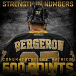 RT @NHLBruins: Congrats to Patrice Bergeron on picking up his 500th NHL point! #NHLBruins http://t.co/TjV2KJc3sy