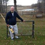 RT @Dave_Stubbs: #Blackhawks icon Glenn Hall tending goal on his farm in Stony Plain, Alta., today w/ his 1962-63 All-Star Game stick http://t.co/37ggfIkfg5