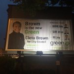 Brown is the new Green; vote 3 Greens for Council. Billboard at 4th and Burrard. #fb #vanpoli #Vancouver http://t.co/7g5zkFrzhv