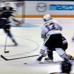 RT @RegressedPDO: Oshie came in low to play the puck but in hitting Carcillo, the knee bore the brunt of it. Ouch. http://t.co/IBoi8Fpu4J