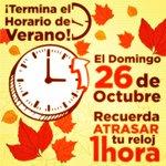 RT @siento5punto1: Hoy finaliza #HorariodeVerano e inicia el #HorariodeInvierno por lo que debemos retrasar una hora nuestro reloj. http://t.co/tONOFNiwCS