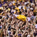 One of the pics of the year so far. 2014 #ArmyBowl WR Trey Quinn goes crowd-surfing after #LSUs win over Ole Miss. http://t.co/DYRxSVl6hG