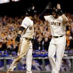 RT @SFGiants: Final Score #SFGiants win 11-4, tie the #WorldSeries 2-2 Pence 3-for-5 3 RBI Sandoval 2-for-5 2 RBI Petit (W) http://t.co/EL7azDfabA