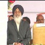 Parkash Singh Badal at ML Khattar's oath taking ceremony in Panchkula #KhattarCM