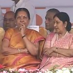 Foreign Minister Sushma Swaraj and Gujarat chief minister Anandiben Patel at ML Khattar's swearing-in ceremony