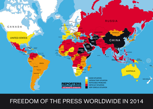 Conrad Hackett (@conradhackett): Press Freedom 2014: 1 Finland 11 Estonia 18 Canada 46 US 47 Haiti 148 Russia 154 Turkey 175 China http://t.co/D1m5ChsN8t