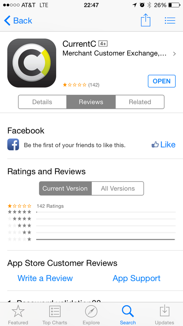 CurrentC had no ratings this morning. Now at 142 ratings, 1 star. Go team. http://t.co/KA66cxCznS