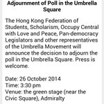 Reasons for poll cancellation to be given at press con in 15min at Admiralty #OccupyHK main stage http://t.co/piXjVWHbmN