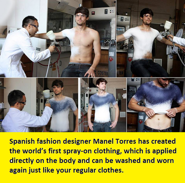 World's first spray on clothing: http://t.co/BIEJ5zdY6W