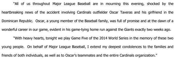 Statement from Commissioner Selig on the passing of Cardinals OF Oscar Taveras: http://t.co/DnkrMUywed