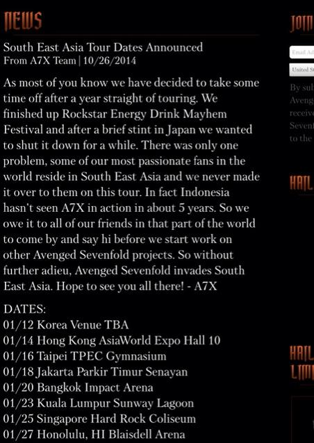 CONFIRMED! Avenged Sevenfold 23rd January 2015, Sunway Lagoon, Malaysia. #A7X http://t.co/mPOoE6tOug