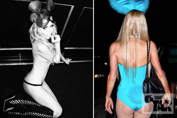 the queen of xrated halloween parishilton strips to corset for playboy bunny