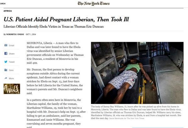 最新が10月2日。この記事を書いてエボラ患者と接触してないわけない…平均潜伏期間からいっても限りなくクロじゃないですか… http://t.co/JCFJWUh8AW