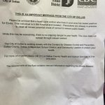 RT @tvkatesnow: Handed out to neighbors of the 2nd health care worker who has #Ebola