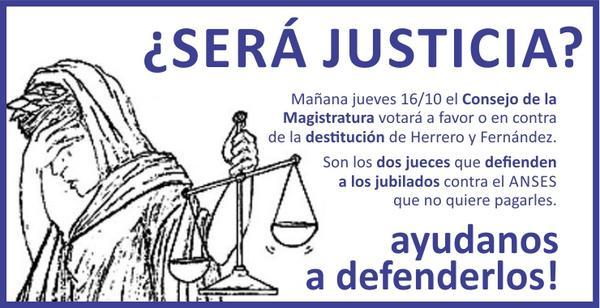 "Mañana posiblemente destituyan a Jueces que fallaron a favor de Jubilados. NO HAY DERECHO! QLP! ENTERATE Y DIFUNDILO http://t.co/GdxPSKle9v"""