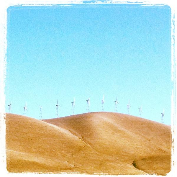 Spinners.  #Wind power.  #CA I-5 North towards #SanFrancisco & #Napa #green http://t.co/kdX9DtactN