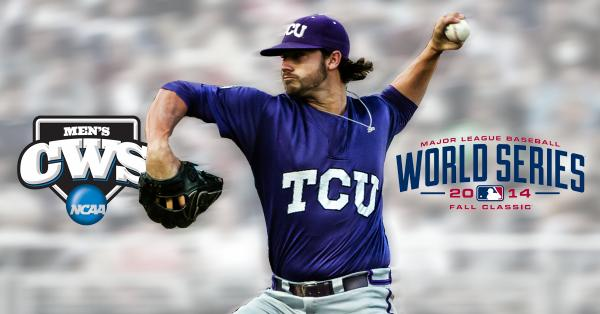 """#TakeTheCrown """"@NCAACWS: Congrats to Brandon Finnegan!  First ever to go from #CWS to #WorldSeries in the same year! http://t.co/IjYiDXcqny"""""""
