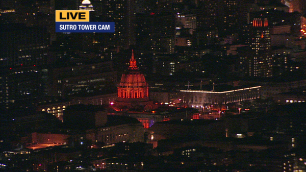 SF City Hall celebrating the @SFGiants win tonight!  #OctoberTogether http://t.co/AWcdYAUOgB