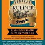 #jogja @MazGrenx: 24-26/10/14 9.00-21.00 Semarak Kuliner Jogja di Plasa Pasar Ngasem Yk http://t.co/1bgn9fAhUr