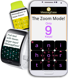 Here's MessagEase's Zoom mode on Samsung Gear and on Apple Watch! http://t.co/ZevY4Xf25R