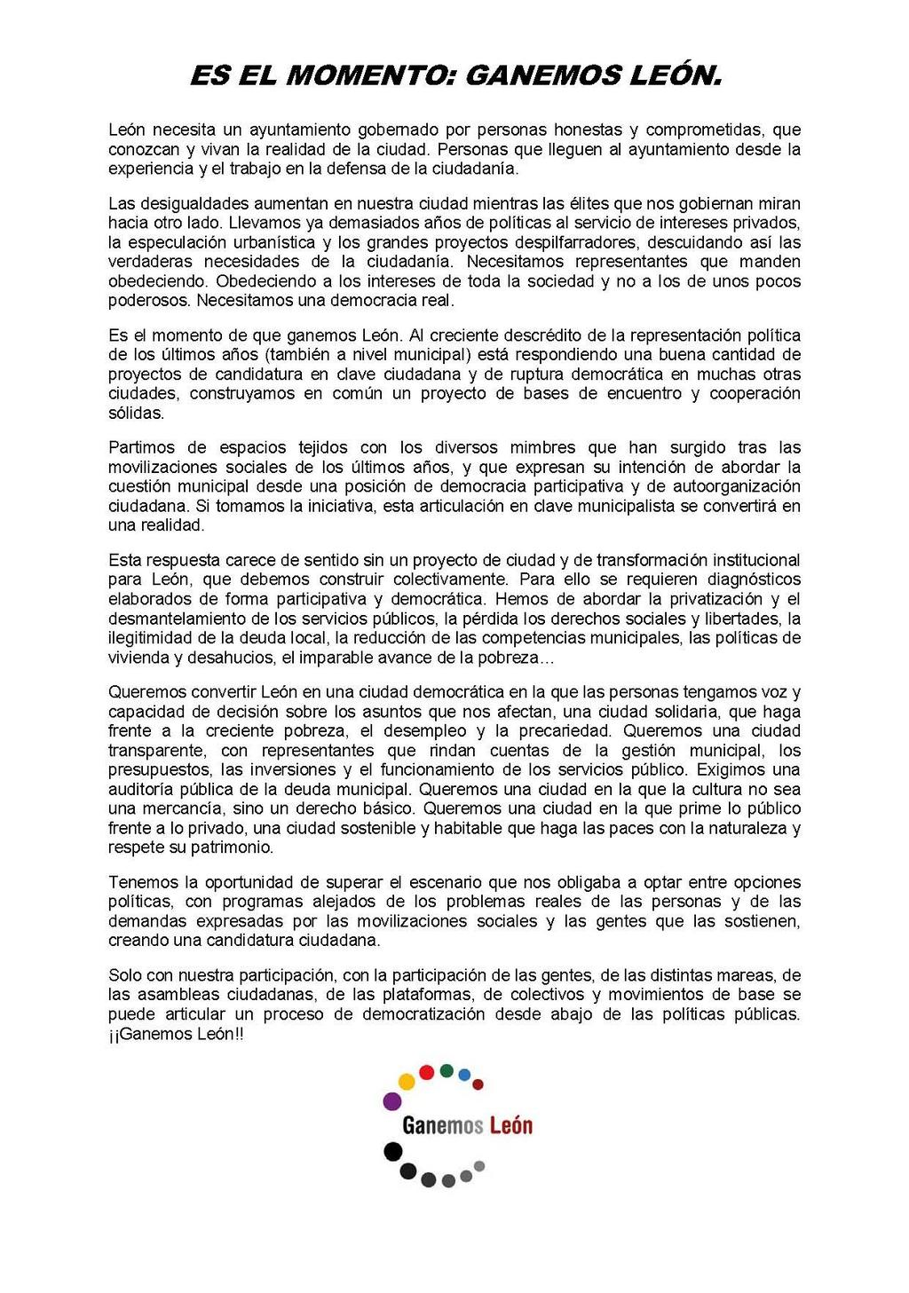 Hoy nace #GanemosLeon. A las 20:00 horas en Ateneo Varillas. Aquí nuestro llamamiento a ciudadanía de #LeonEsp: http://t.co/CdTSOKYK0t