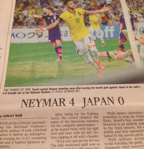 シンガポール現地新聞によると、どうやら日本代表はブラジルに0-4で負けた訳ではなかったようです http://t.co/nkxYUEhOHm