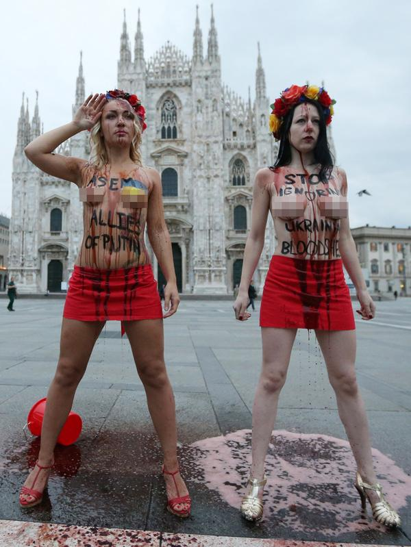 #Femen protested in Milan before the start of the forum # ...