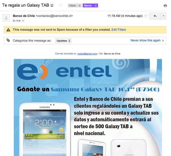 ojo, clientes del @bancodechile y @entel con este mail, que busca robarles sus datos personales y privados http://t.co/rbkBqbTCpG
