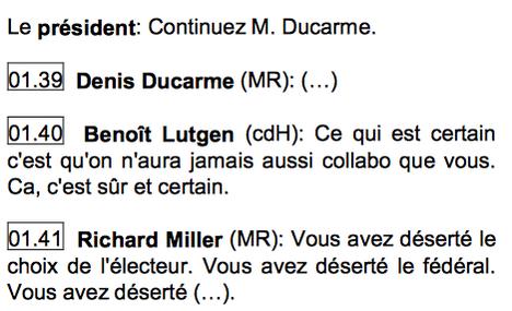 """Compte-rendu intégrale de @LaChambreBE : Benoît Lutgen a bien traité Denis Ducarme de """"collabo"""". #jepRTBF #Michel1 http://t.co/8CP0q4oS4N"""